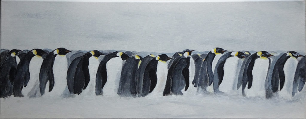 Emperors huddle. Acrylic on canvas. 50 x 20 cm