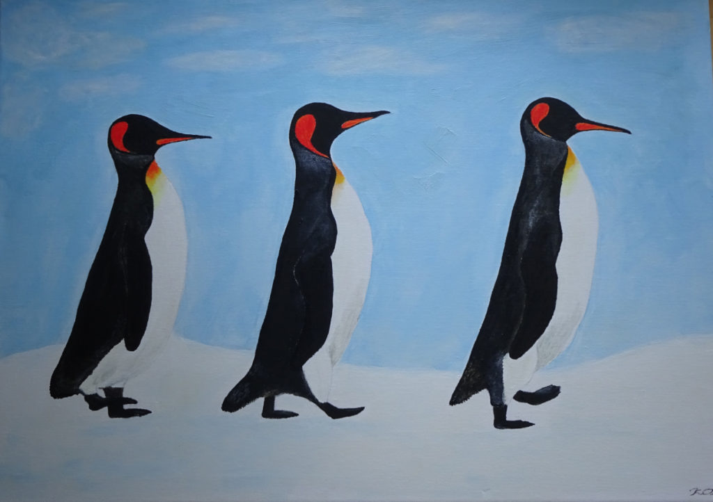 Three Kings walking. Acrylic on canvas. 70 x 50 cm